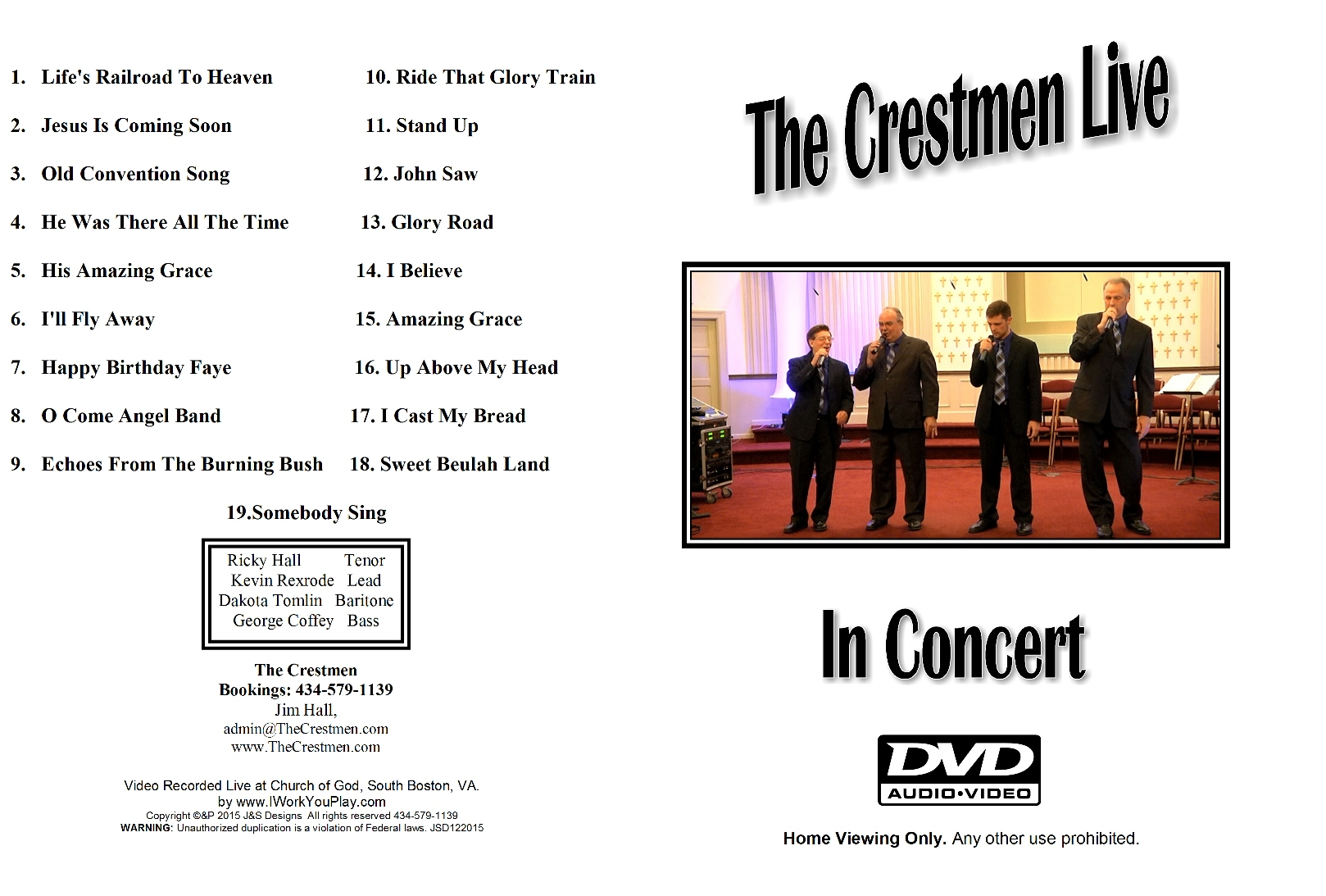 The Crestmen Live DVDfront and back